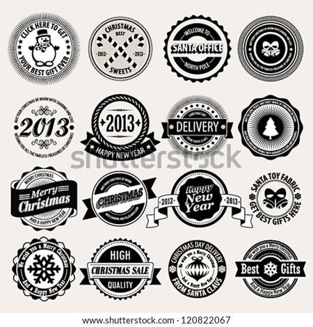 Christmas set - black and white labels, emblems. Vector illustration.