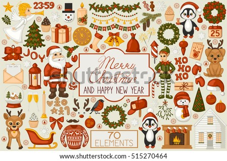 christmas set cartoon elements