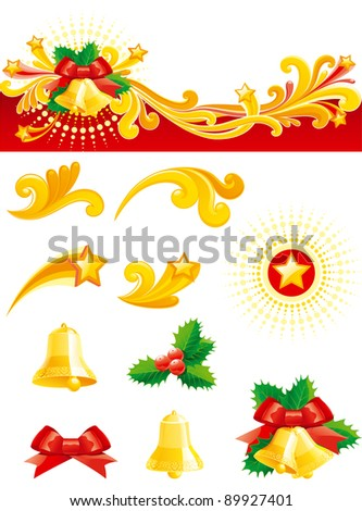 Christmas set. Christmas banner,   gold hand bells, holly leaves, bow and design ornament elements isolated on white background.