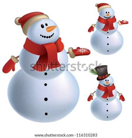 Christmas set collection of three snowmen isolated on white background traditional  illustration  vector mesh illustration