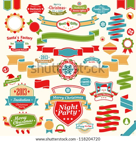 Christmas set - colorful ribbons, labels and other decorative elements. Vector illustration.