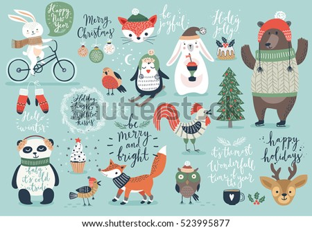 christmas set  hand drawn style