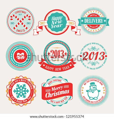 Christmas set labels and emblems Vector illustration