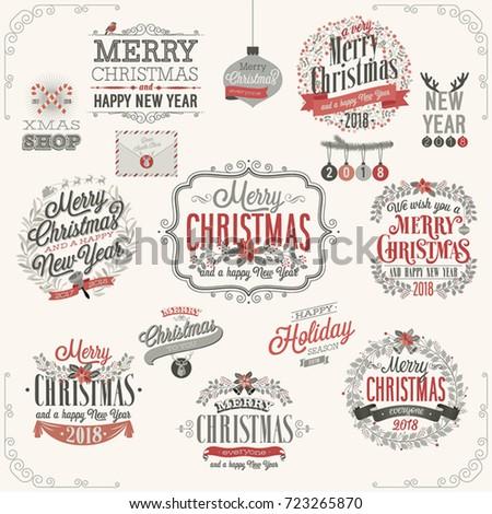 Christmas set - labels, emblems and other decorative elements.