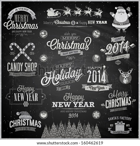 Christmas set - labels, emblems and other decorative elements - Chalkboard.