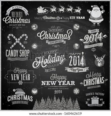 Christmas set - labels, emblems and other decorative elements - Chalkboard.