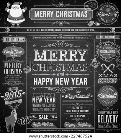 Christmas set labels emblems and other decorative elements Chalkboard