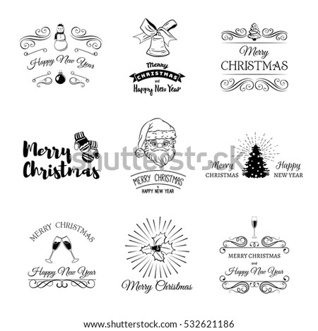 Christmas set - labels, emblems and other decorative elements. tree, santa claus, glass of champagne, ball, mittens, snowman,