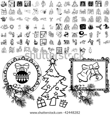 Christmas set of black sketch. Part 101-4. Isolated groups and layers. #42448282