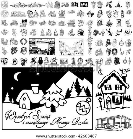 Christmas set of black sketch. Part 102-11. Isolated groups and layers. #42603487