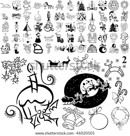 Christmas set of black sketch. Part 105-2. Isolated groups and layers.