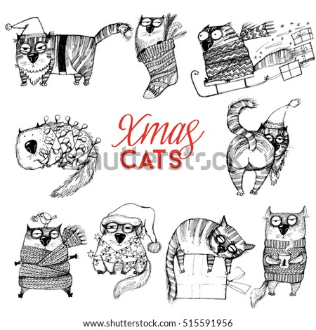 christmas set of funny cat