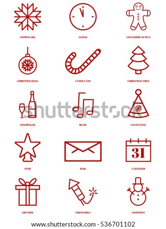 christmas set of icons and