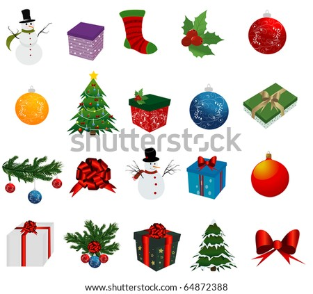 Christmas Set of icons on white background - stock vector
