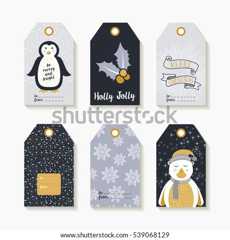 christmas set of labels and