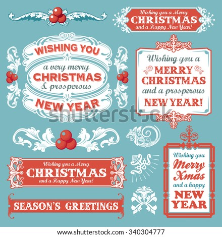 Christmas set of retro icons, labels, emblems and decorative banner signs