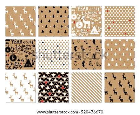 Christmas Set Of Vector Hand Drawn Seamless Patterns With Deer Santa Tree