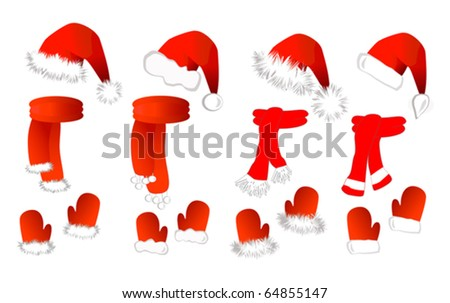 Christmas set: red santa claus hat, scarf and mittens on the white background (eps10). Vector illustration
