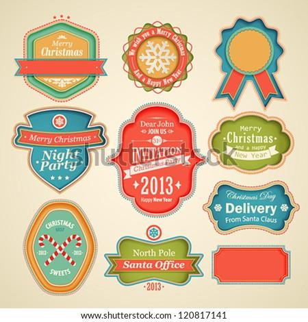 Christmas set - scrapbook labels and emblems.
