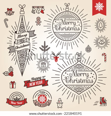 Christmas set Vector illustration Labels emblems and other decorative elements in vintage style Cute Xmas characters Deer head Snowman in hat Gingerbread man