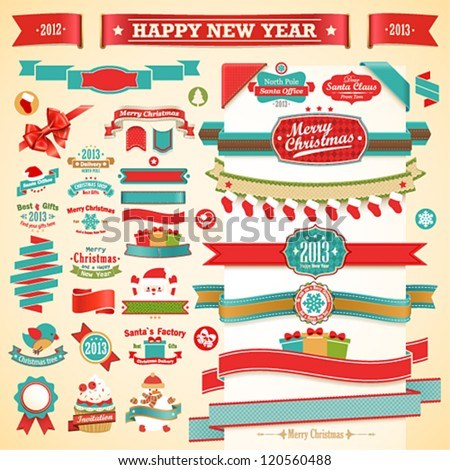 Christmas set - vintage ribbons, labels and other decorative elements. Vector illustration.