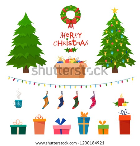stock-vector-christmas-set-wit-decorative-winter-objects-toys-gift-boxes-balls-garlands-socks-wreath
