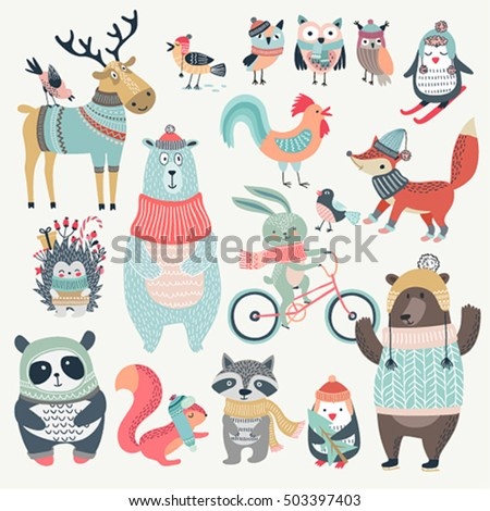 christmas set with cute animals