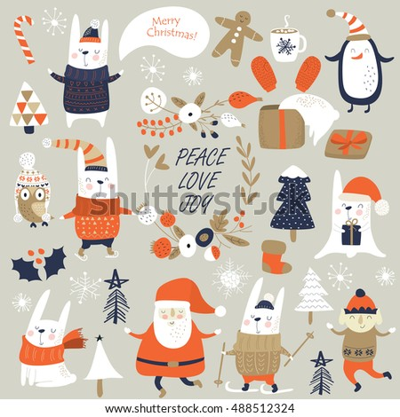 Christmas set with cute bunnies, christmas trees, Santa Claus and other Christmas attributes