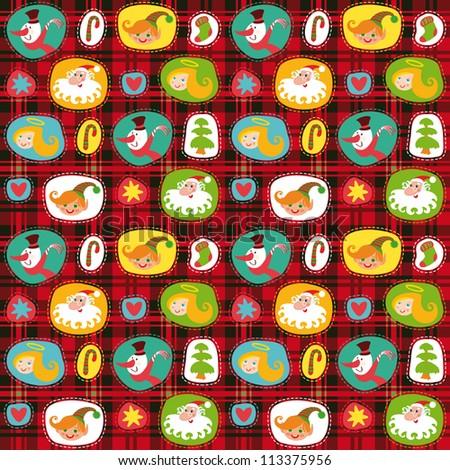 Christmas set, wrapping paper, plaid tartan pattern background