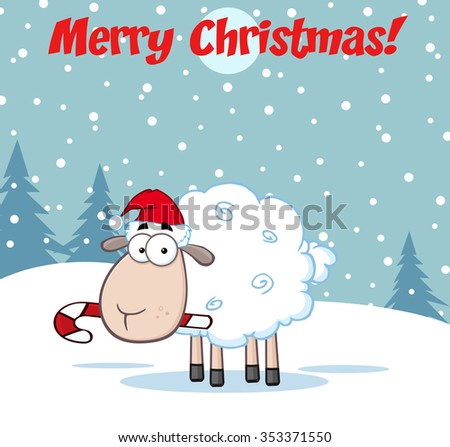 christmas sheep cartoon