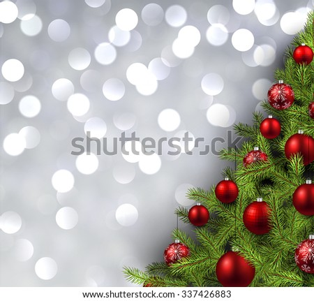 Christmas shining background with christmas tree. Vector illustration. #337426883