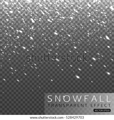 Christmas shining falling snow on transparent background vector illustration.