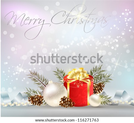 Christmas shiny background with decoration, gift and ribbons