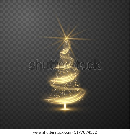 Christmas shiny tree background with blurred lights effect on abstract background. Vector EPS10. stock photo