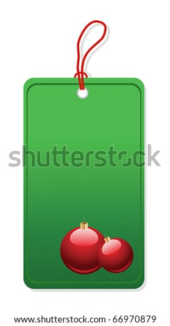 Christmas shopping green label isolated over white background