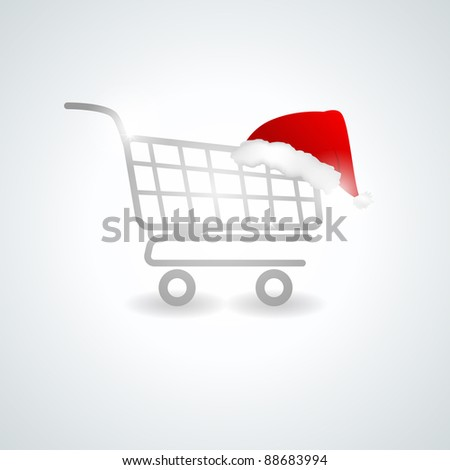 Christmas shopping trolley - stock vector