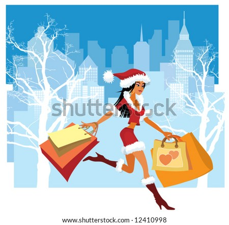 Christmas shopping. Vector illustration of a girl with shopping bags