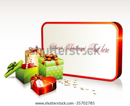 christmas sign with gift boxes and golden stars confetti