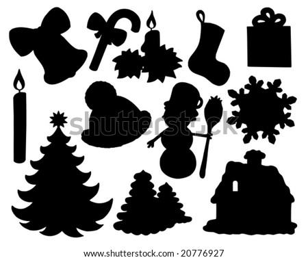 Christmas silhouette collection 02 - vector illustration.