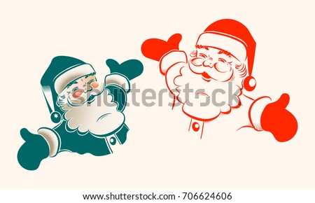 Christmas silhouette with Santa Claus with arms apart, set