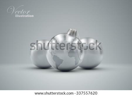 christmas silver balls holiday