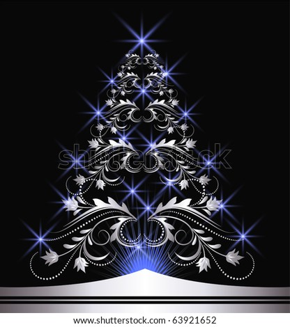 christmas silver fur tree with