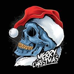 christmas skull wearing santa claus hat vector
