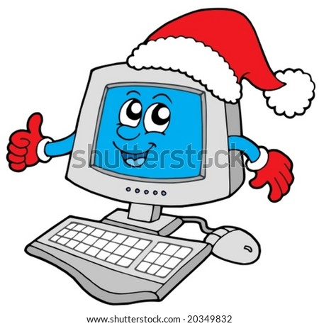 Christmas smiling computer - vector illustration.