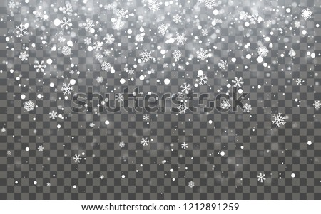 Christmas snow. Falling snowflakes on dark background. Snowfall. Vector illustration. #1212891259