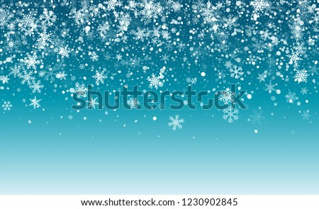 Christmas Snow Flakes Background. Happy Winter Holiday Illustration Template. Realistic Falling Snow Background. Fantasy  Snowstorm Illustration Design.