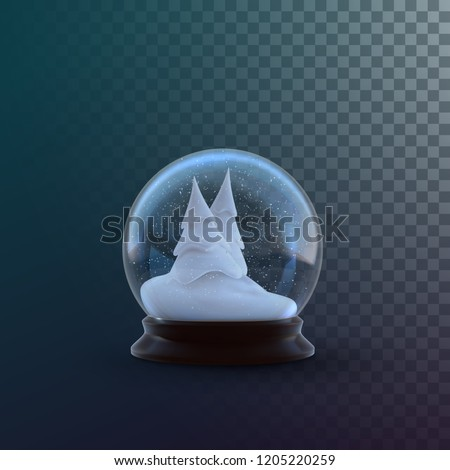 Christmas snow globe isolated on checkered transparent background. Vector 3d illustration. Holiday realistic decoration. Winter Xmas ornament. Crystal ball with snow. Glass sphere with snowy fir trees