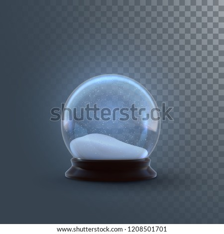 Christmas snow globe isolated on checkered transparent background. Vector 3d illustration. Holiday realistic decoration. Winter Xmas ornament. Crystal ball with falling snow. Glass sphere