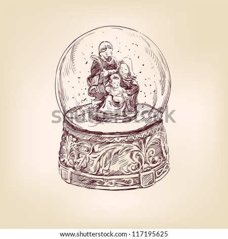 christmas snow globe vintage hand drawn vector illustration