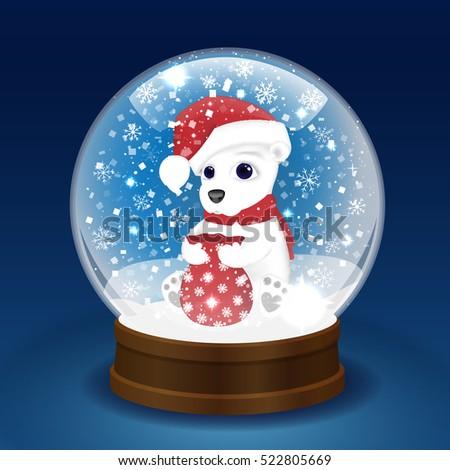 christmas snow globe with a